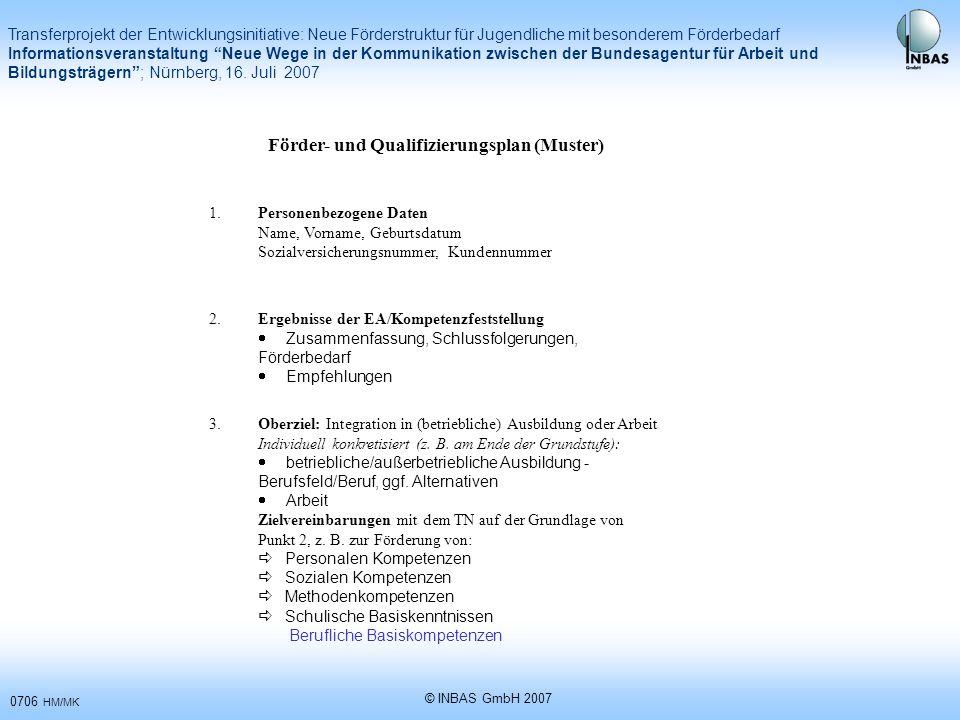 Förder- und Qualifizierungsplan (Muster)