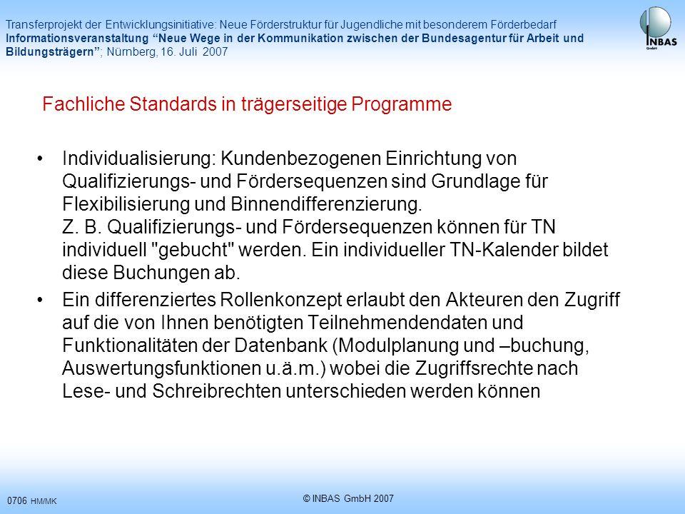 Fachliche Standards in trägerseitige Programme