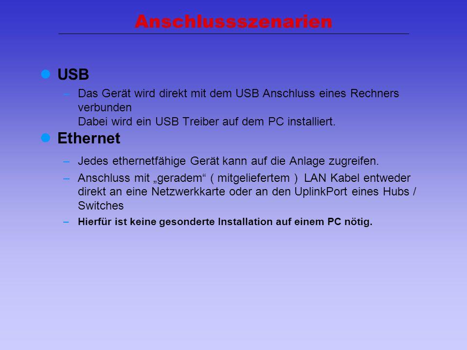 Anschlussszenarien USB Ethernet