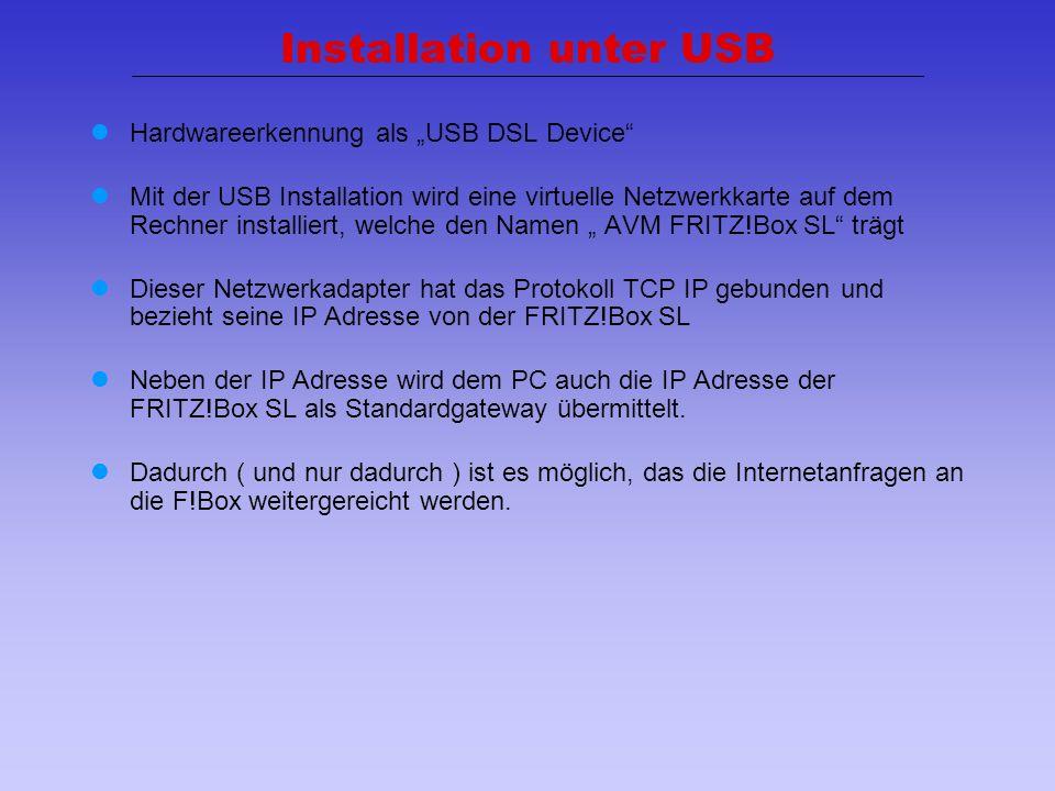 Installation unter USB