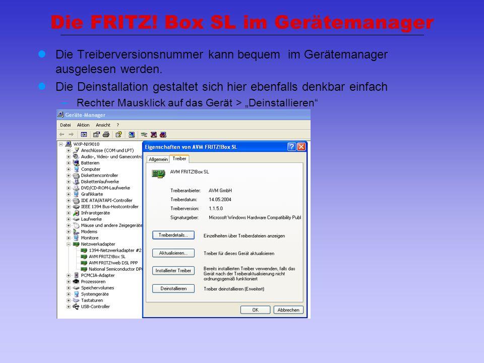 Die FRITZ! Box SL im Gerätemanager