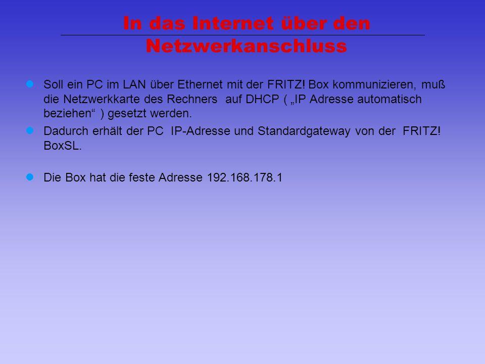 In das Internet über den Netzwerkanschluss