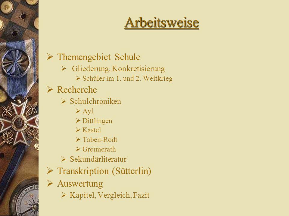 Arbeitsweise Themengebiet Schule Recherche Transkription (Sütterlin)