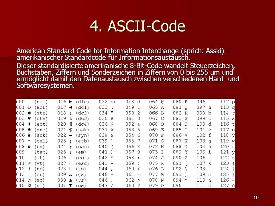 4. ASCII-Code American Standard Code for Information Interchange (sprich: Asski) – amerikanischer Standardcode für Informationsaustausch.