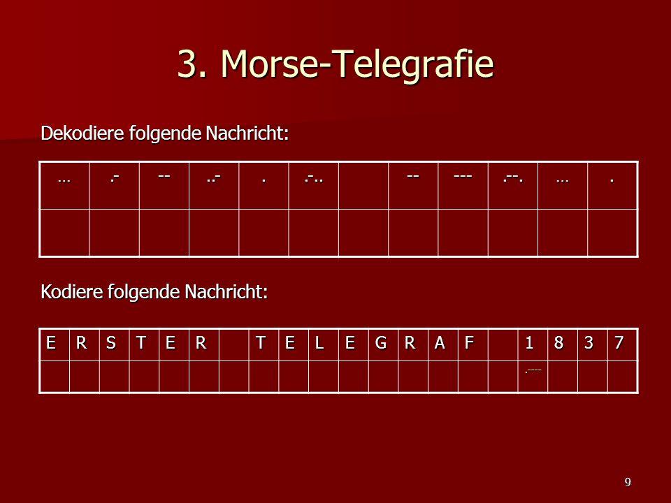 3. Morse-Telegrafie Dekodiere folgende Nachricht: