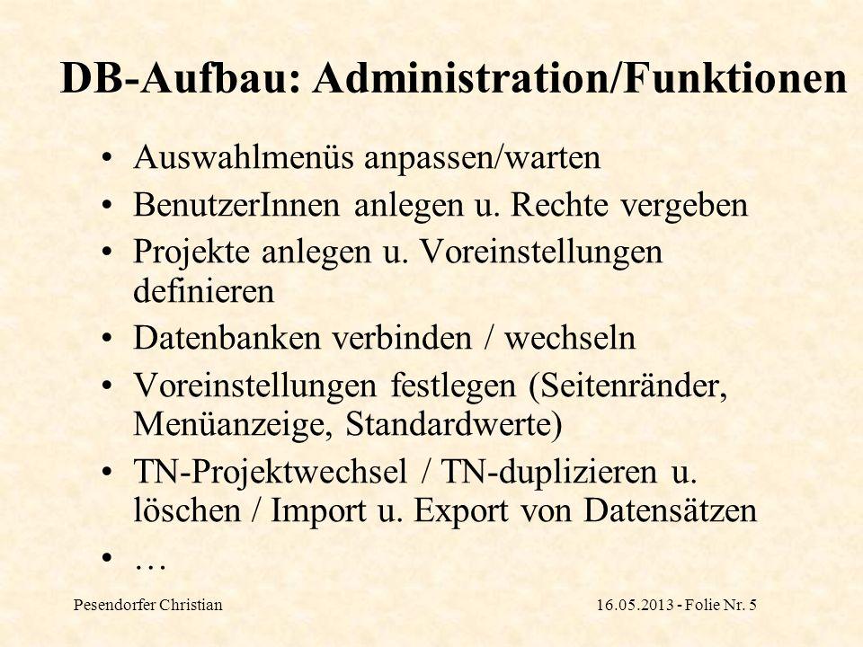 DB-Aufbau: Administration/Funktionen