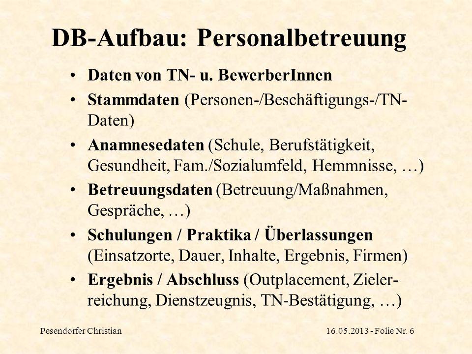DB-Aufbau: Personalbetreuung