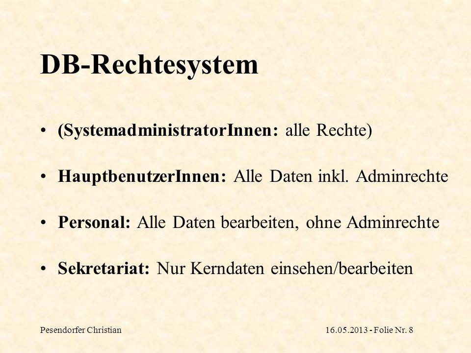 DB-Rechtesystem (SystemadministratorInnen: alle Rechte)