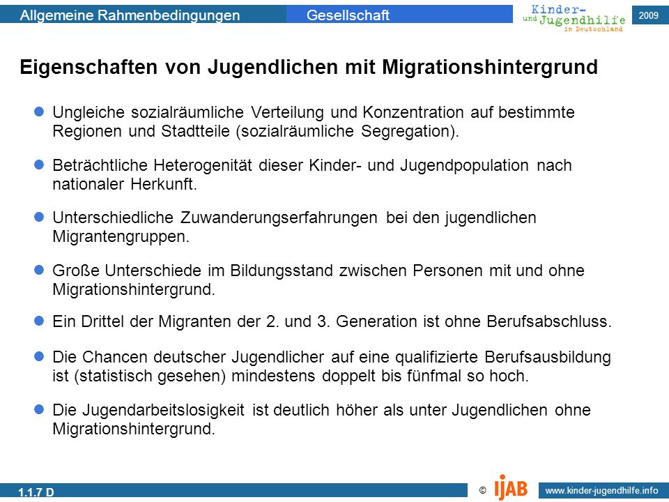 Eigenschaften von Jugendlichen mit Migrationshintergrund
