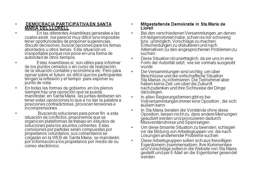 DEMOCRACIA PARTICIPATIVA EN SANTA MARIA DEL LLORELL