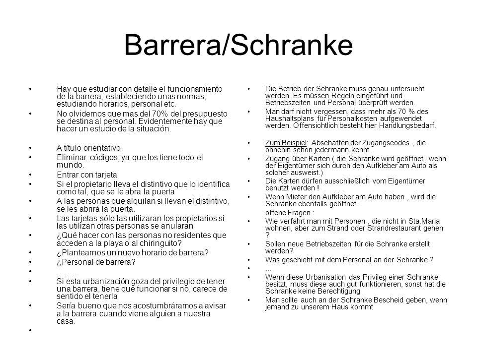 Barrera/Schranke Hay que estudiar con detalle el funcionamiento de la barrera, estableciendo unas normas, estudiando horarios, personal etc.