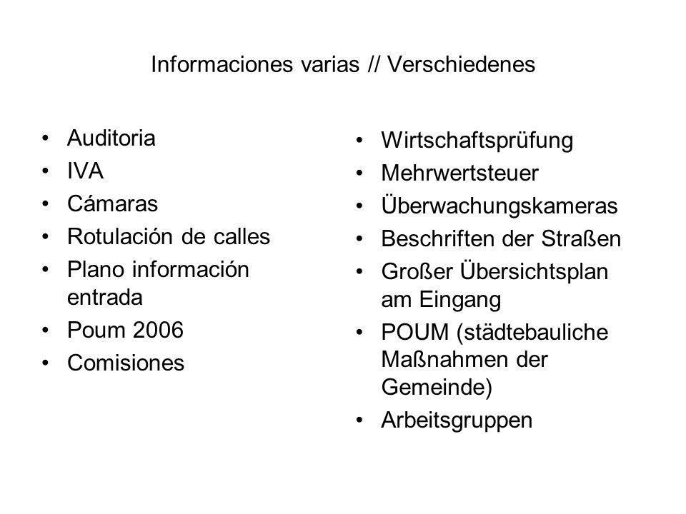 Informaciones varias // Verschiedenes