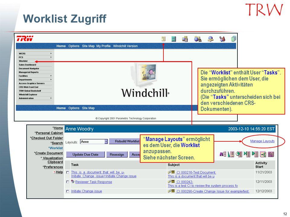 Worklist Zugriff Die Worklist enthält User Tasks . Sie ermöglichen dem User, die angezeigten Aktivitäten durchzuführen.