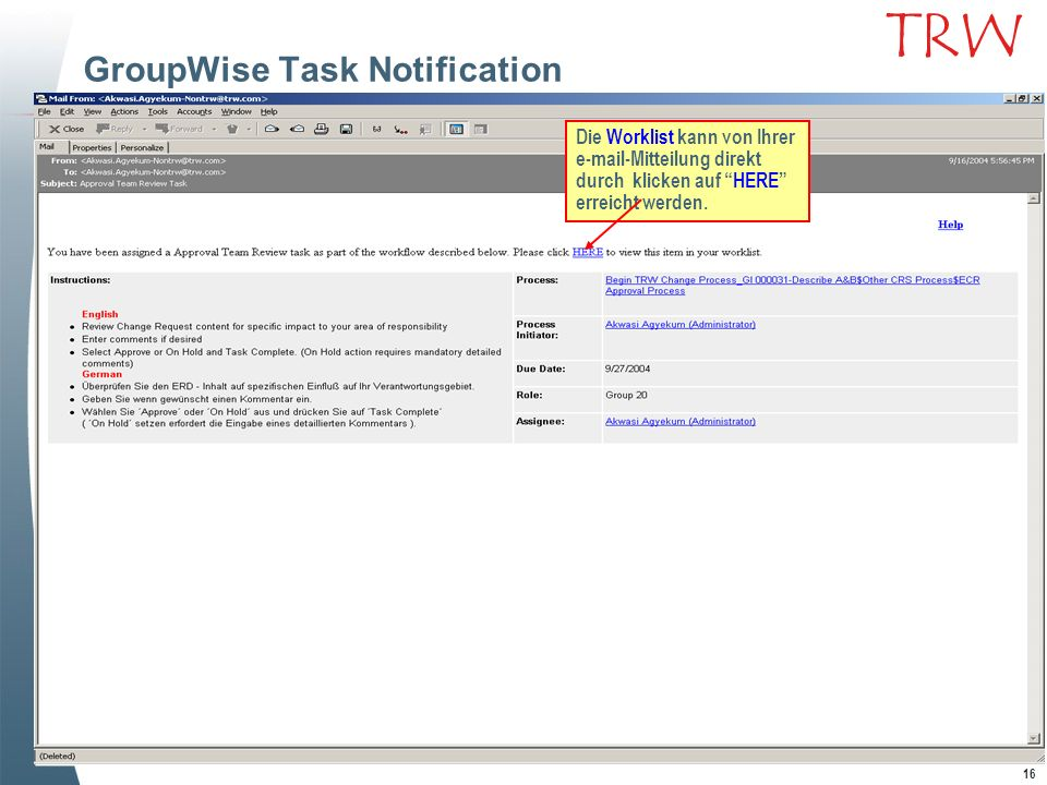 GroupWise Task Notification