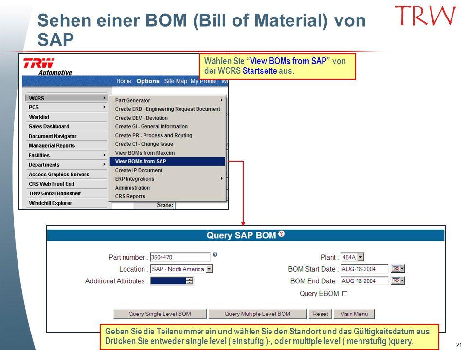 Sehen einer BOM (Bill of Material) von SAP