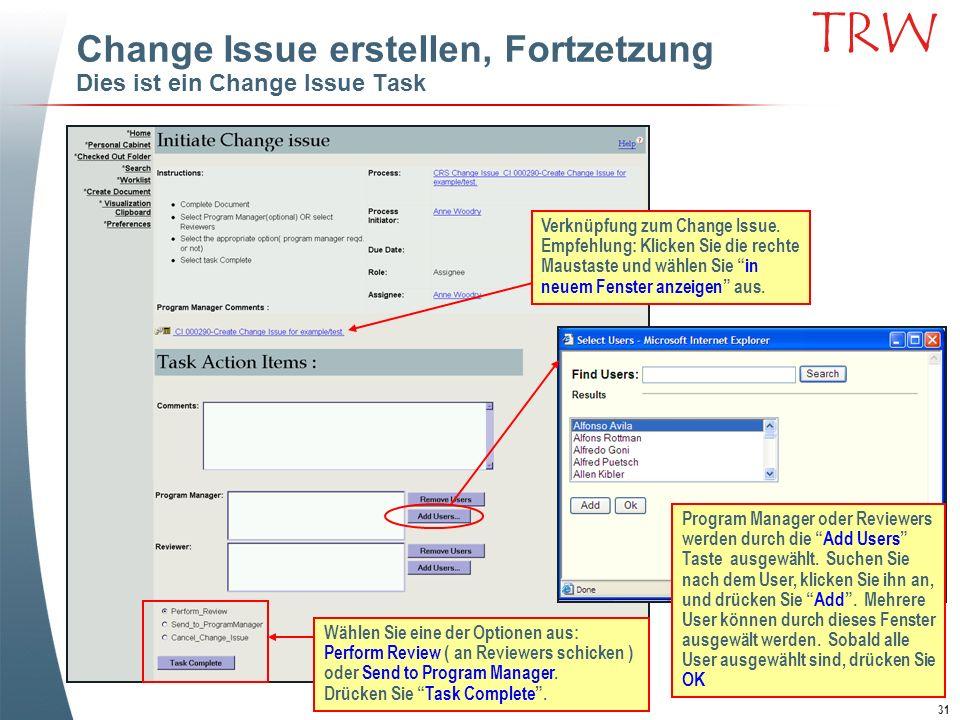 Change Issue erstellen, Fortzetzung Dies ist ein Change Issue Task