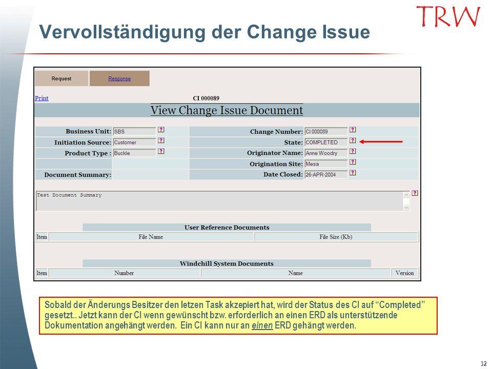 Vervollständigung der Change Issue