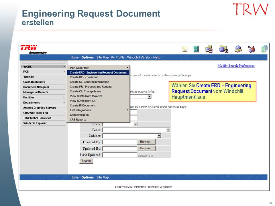 Engineering Request Document erstellen