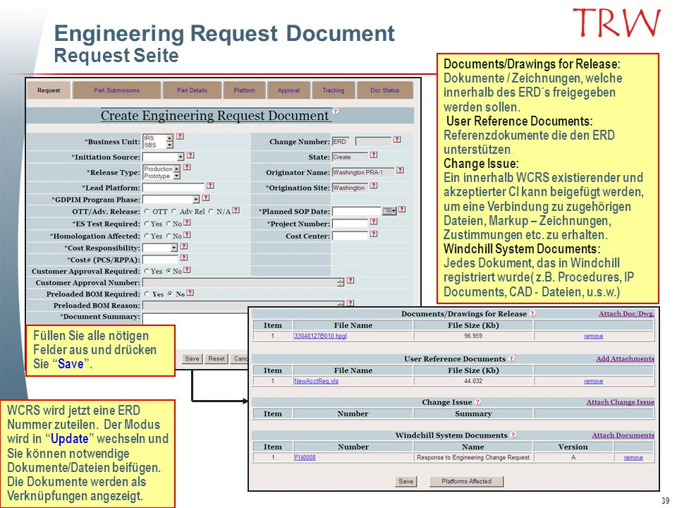 Engineering Request Document Request Seite