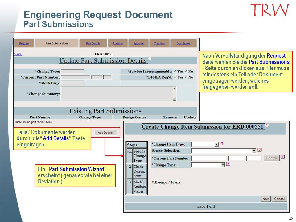 Engineering Request Document Part Submissions