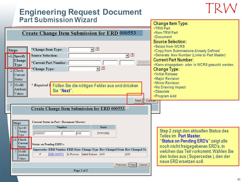 Engineering Request Document Part Submission Wizard