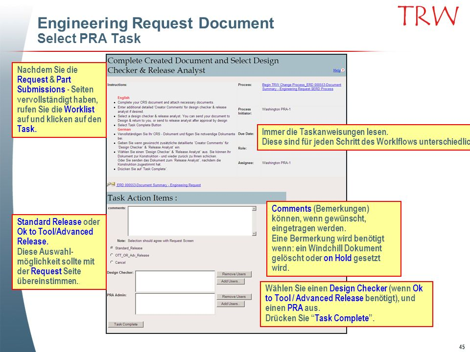 Engineering Request Document Select PRA Task