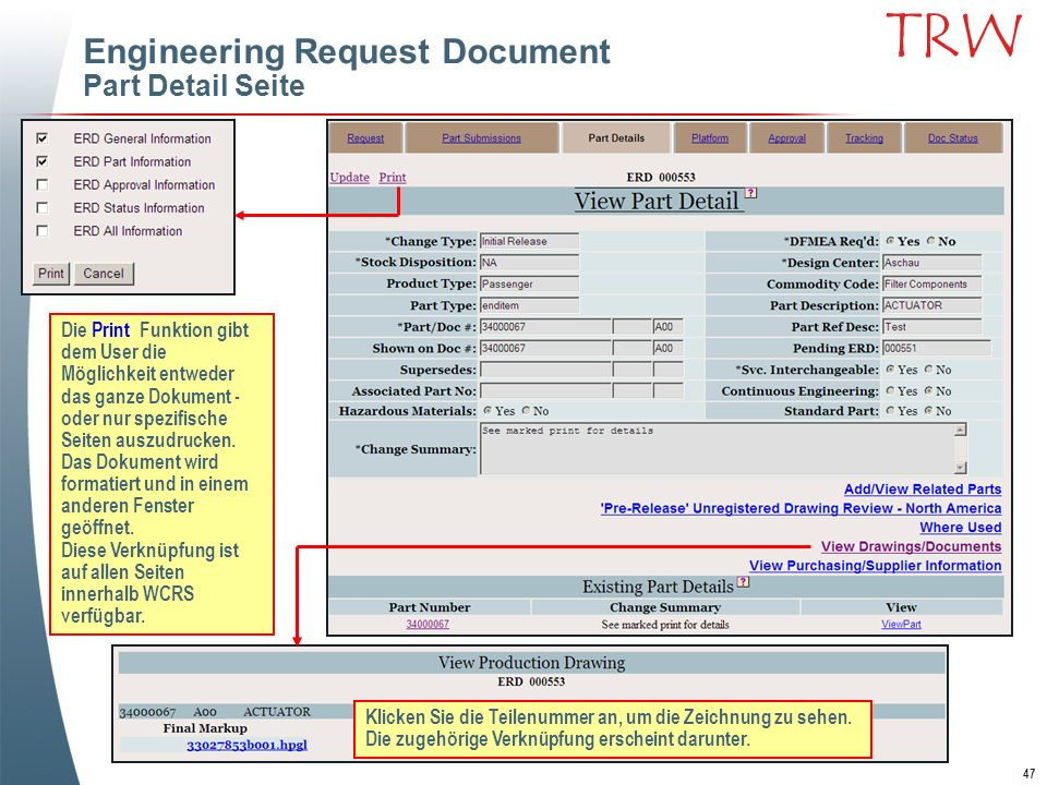 Engineering Request Document Part Detail Seite