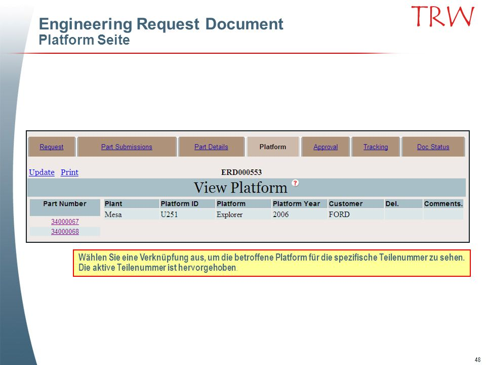 Engineering Request Document Platform Seite