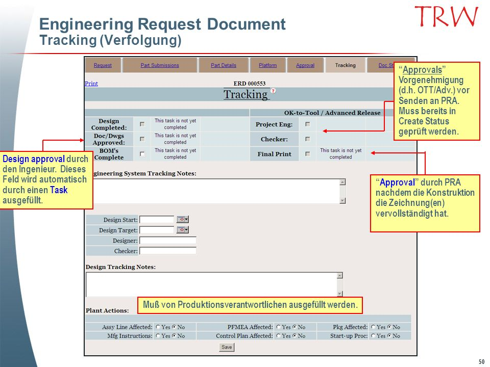 Engineering Request Document Tracking (Verfolgung)