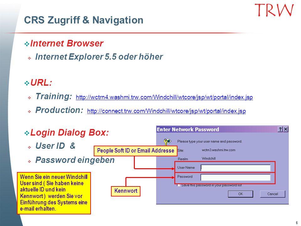CRS Zugriff & Navigation