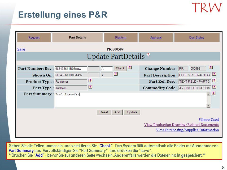 Erstellung eines P&R