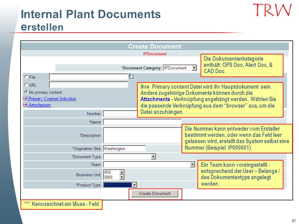 Internal Plant Documents erstellen