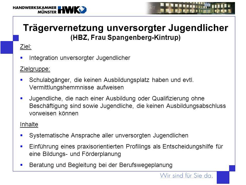 Trägervernetzung unversorgter Jugendlicher (HBZ, Frau Spangenberg-Kintrup)