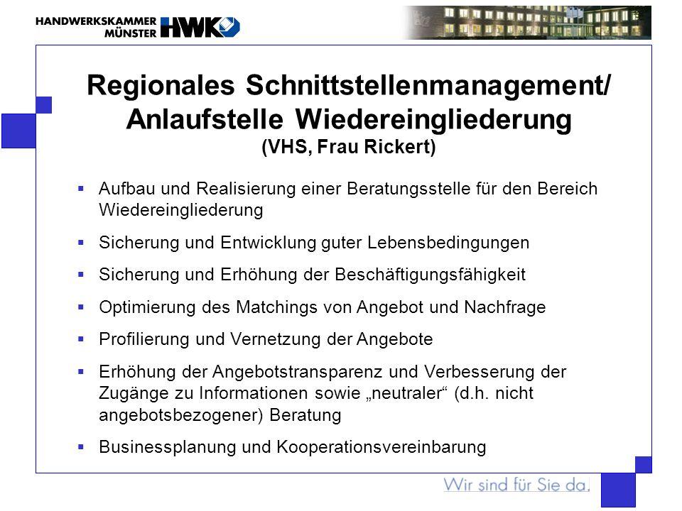 Regionales Schnittstellenmanagement/ Anlaufstelle Wiedereingliederung