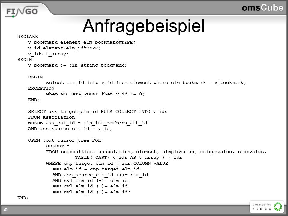 Anfragebeispiel DECLARE v_bookmark element.elm_bookmark%TYPE;