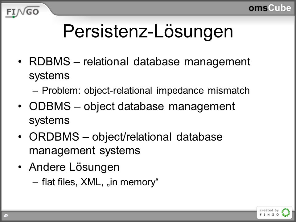 Persistenz-Lösungen RDBMS – relational database management systems