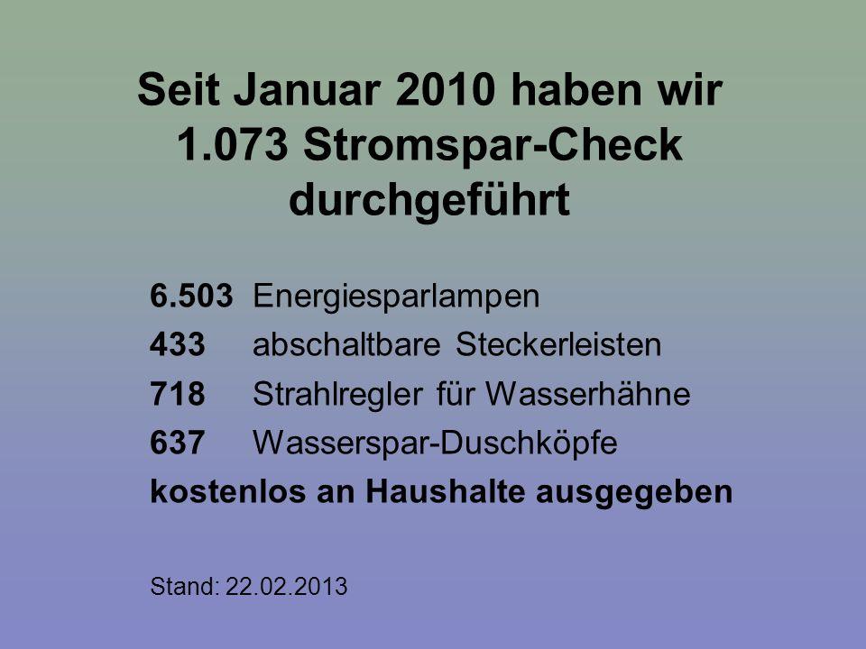 Seit Januar 2010 haben wir 1.073 Stromspar-Check durchgeführt