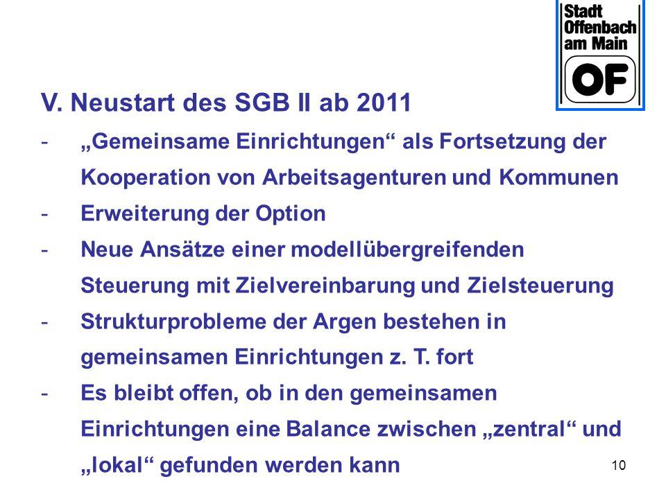 """V. Neustart des SGB II ab 2011""""Gemeinsame Einrichtungen als Fortsetzung der Kooperation von Arbeitsagenturen und Kommunen."""