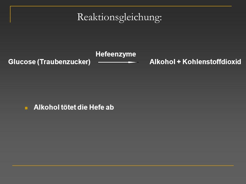 Reaktionsgleichung: Hefeenzyme Glucose (Traubenzucker)