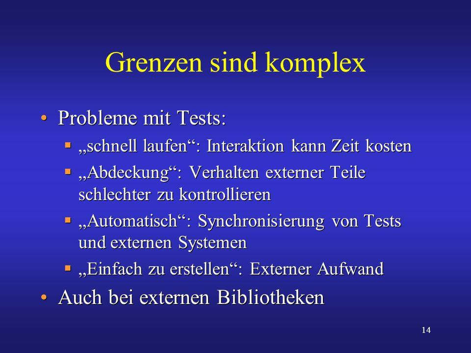 Grenzen sind komplex Probleme mit Tests: