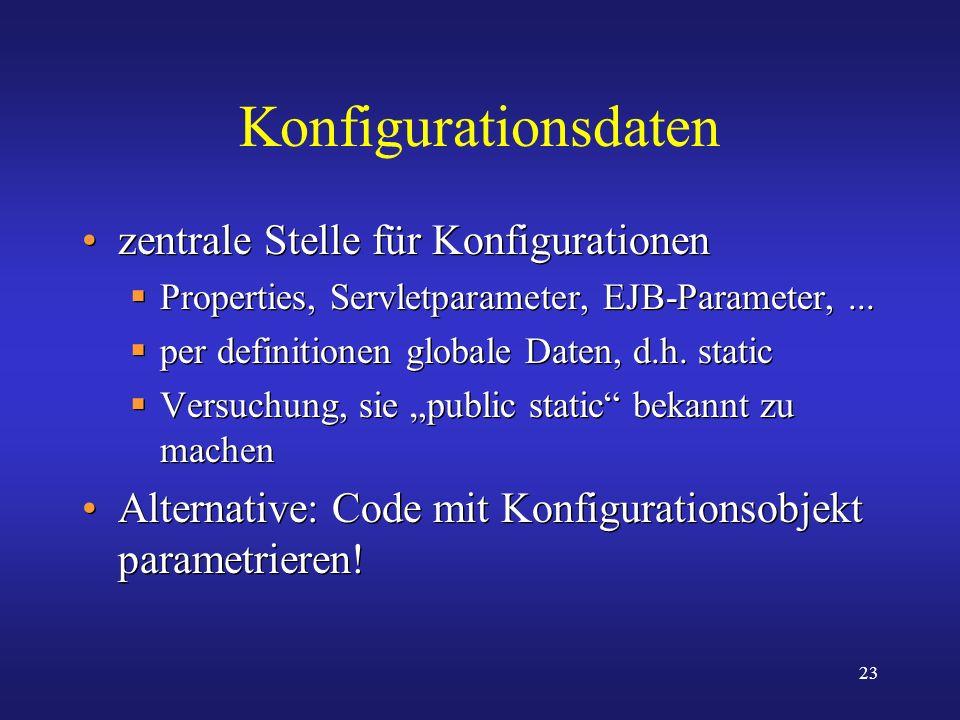 Konfigurationsdaten zentrale Stelle für Konfigurationen