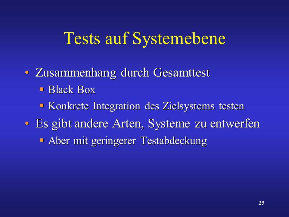 Tests auf Systemebene Zusammenhang durch Gesamttest
