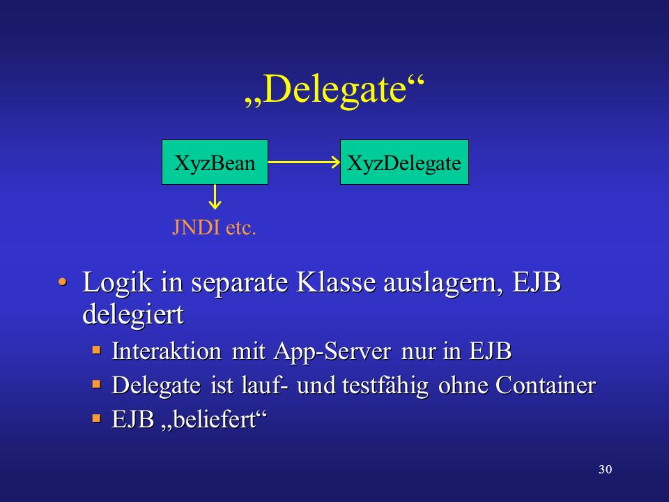 """Delegate Logik in separate Klasse auslagern, EJB delegiert"