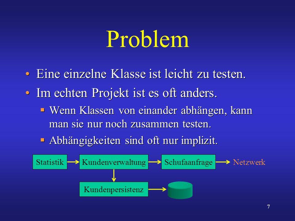 Problem Eine einzelne Klasse ist leicht zu testen.