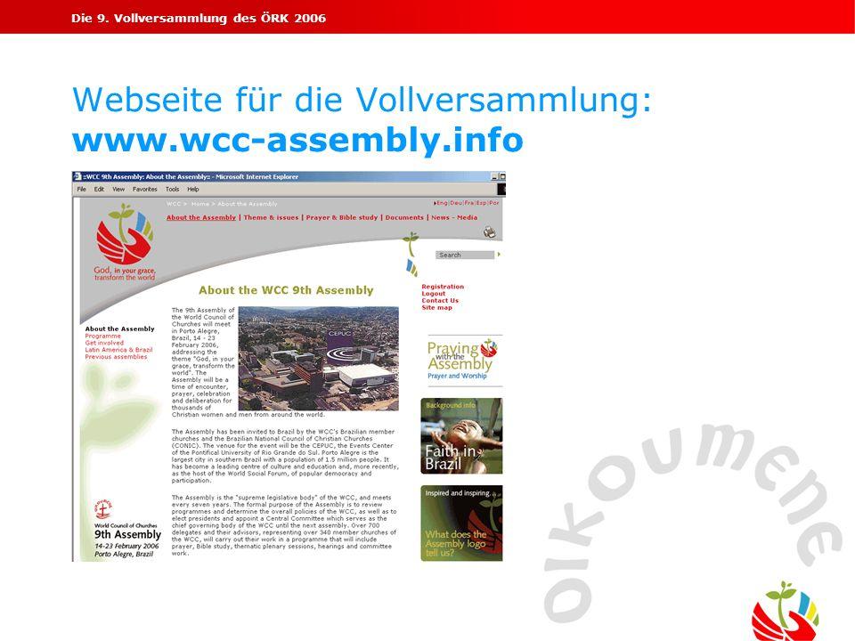 Webseite für die Vollversammlung: www.wcc-assembly.info
