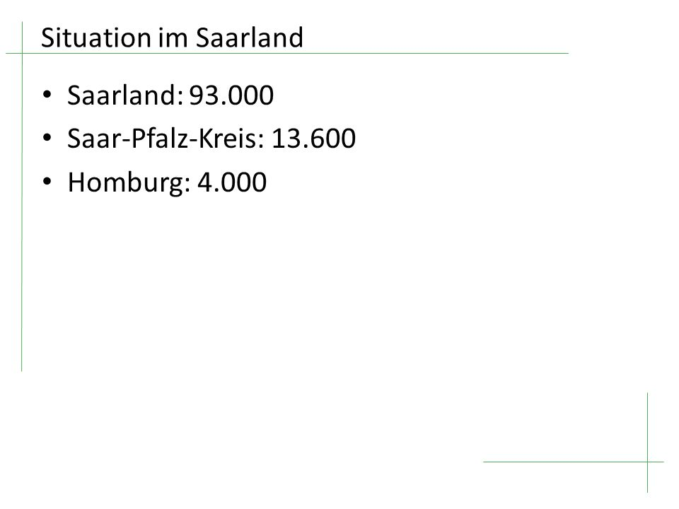 Situation im Saarland Saarland: 93.000 Saar-Pfalz-Kreis: 13.600 Homburg: 4.000