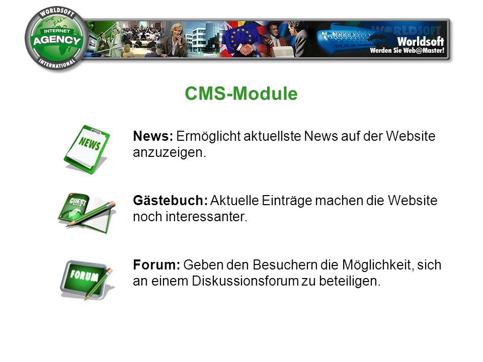 CMS-Module News: Ermöglicht aktuellste News auf der Website