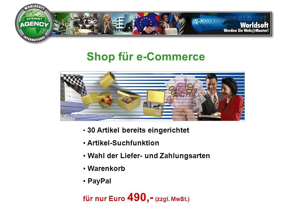 Shop für e-Commerce Artikel-Suchfunktion