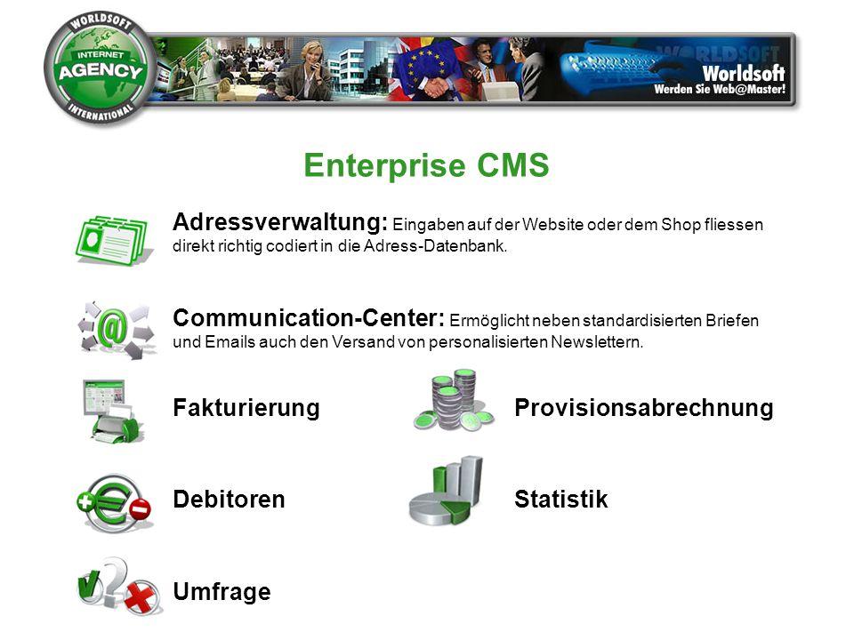 Enterprise CMS Adressverwaltung: Eingaben auf der Website oder dem Shop fliessen. direkt richtig codiert in die Adress-Datenbank.