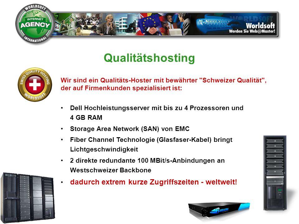 Qualitätshosting Wir sind ein Qualitäts-Hoster mit bewährter Schweizer Qualität , der auf Firmenkunden spezialisiert ist:
